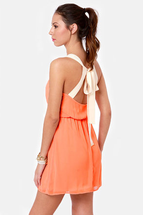Cute Peach Dress - Backless Dress - Orange Dress - $43.00