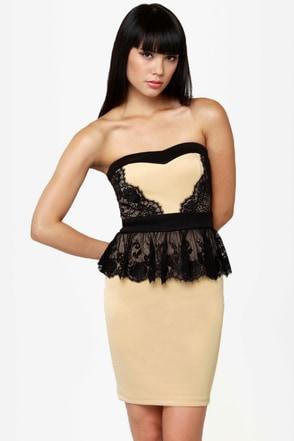 Round of Applause Strapless Beige Dress