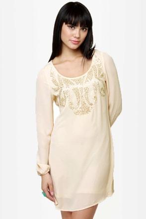 Swan Queen Beaded Cream Dress