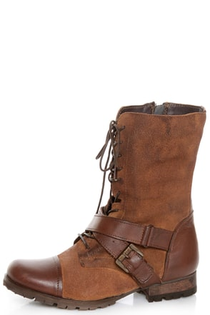 Naughty Monkey Stomper Tan Lace-Up Cap-Toe Combat Boots