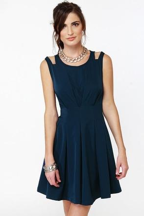 Putting on Flares Navy Blue Dress