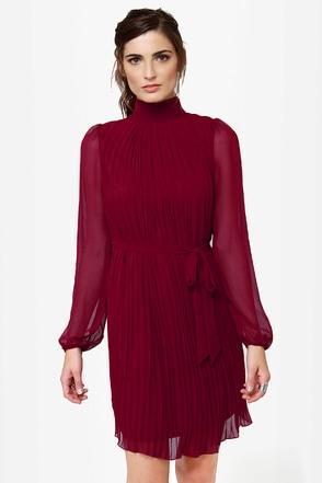 Pleats Be Advised Burgundy Dress