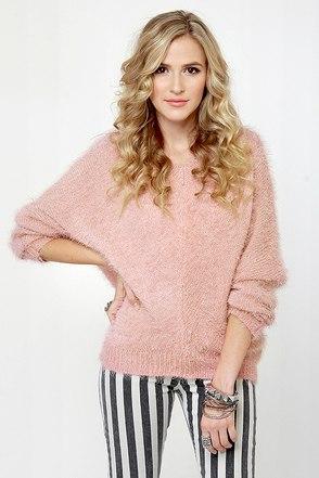 Cute pink sweater peach sweater fuzzy sweater 43 00