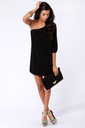 one shoulder dress in black « Bella Forte Glass Studio