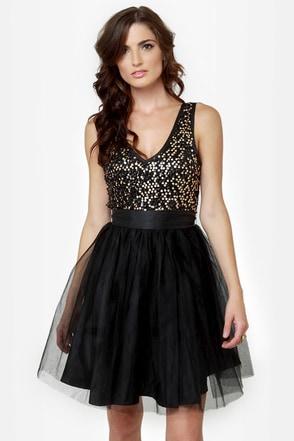 Ballet it on Me Black Sequin Dress