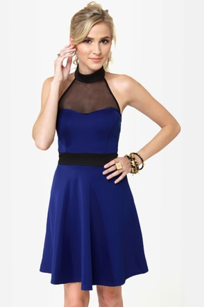 Complementary Collars Blue Halter Dress