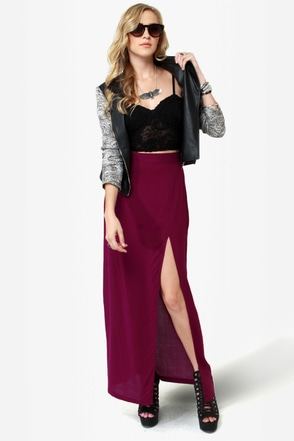 She\\\'s Got Legs Burgundy Maxi Skirt