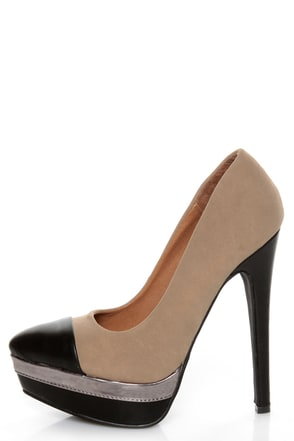 zaria 1 taupe and black cap toe pointed pumps