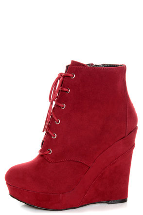 Promise Magnum Wine Red Lace-Up Wedge Booties