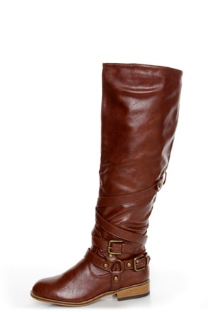 Bamboo Parksville 10 Brown Belted Motorcycle Boots