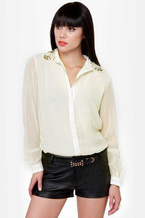 Bead Colony Beaded Cream Button-Up Top