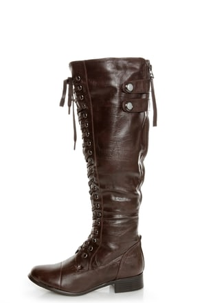 rocker brown lace up knee high boots 66 00