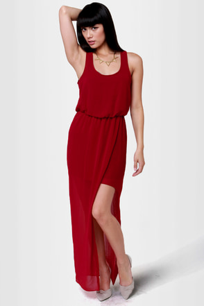 Life at the Lounge Wine Red Maxi Dress