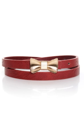 Rock the Bow-t Skinny Red Bow Belt