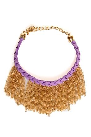 Gold-fringe-er Purple Braided Friendship Bracelet