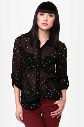 O\'Neill Galaxy Black Polka Dot Top