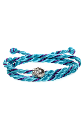 Skull's Out for Summer Blue and Purple Friendship Bracelet