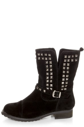 Promise Abigail Black Studded Motorcycle Ankle Boots