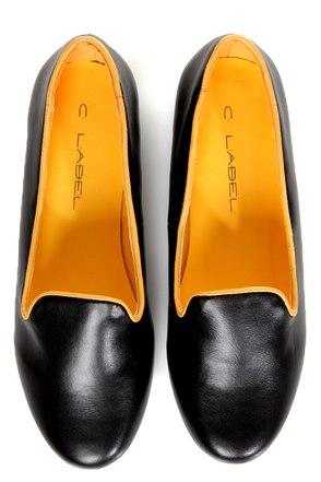 C Label Judy 2 Black and Yellow Smoking Slipper Flats