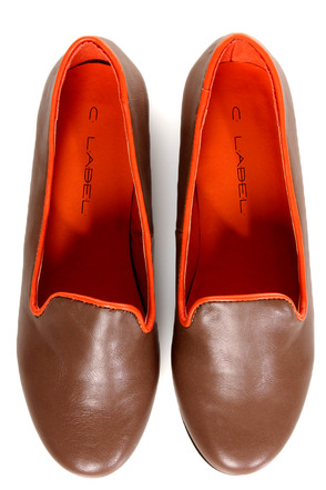 C Label Judy 2 Taupe and Orange Smoking Slipper Flats