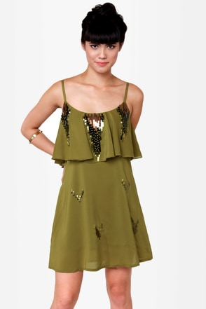 Canyon Dig It Olive Green Sequin Dress