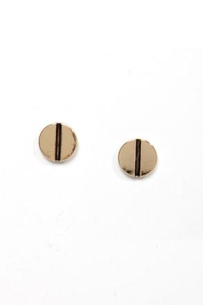 Turn of the Screw Gold Stud Earrings