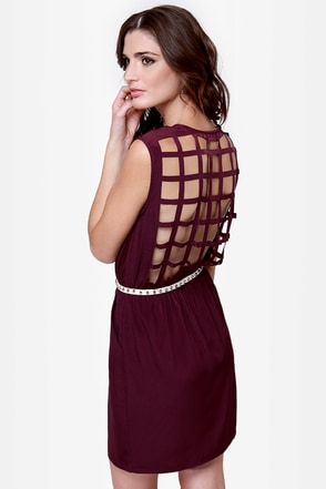 Gridding from Here to Here Cutout Plum Purple Dress