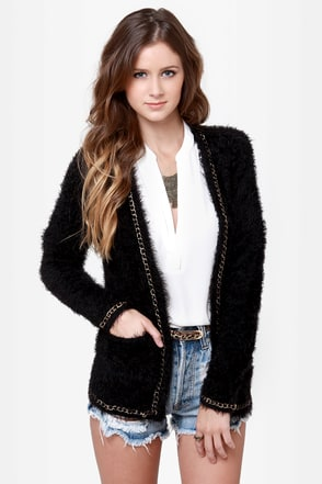 Mink Pink Chain Reaction Fuzzy Black Cardigan Sweater