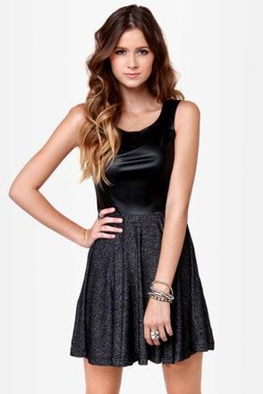 Mink Pink Sparkly Motion Black Glitter Dress