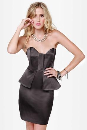 Satin-um Record Strapless Charcoal Grey Dress
