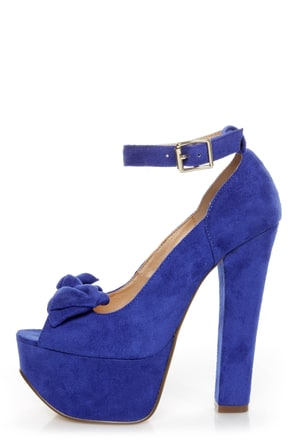Luichiny Van Essa Cobalt Blue Knotty Bow Peep Toe Platform Heels