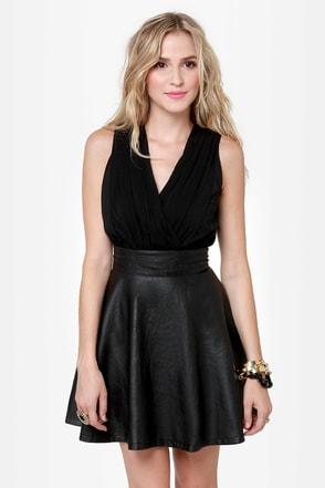 Leather and Lady Black Vegan Leather Dress
