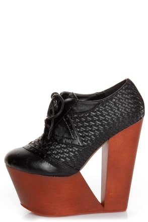 Privileged Court Black Basketweave Oxford Wedge Platforms