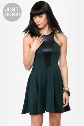 Front and Center Dark Green Dress