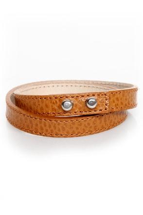 Wrist-y Business Tan Leather Wrap Bracelet