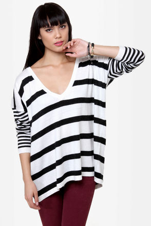 A Sailor\\\'s Life Black and Ivory Striped Sweater