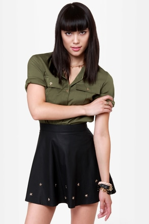 Star-Studded Cast Black Studded Vegan Leather Skirt