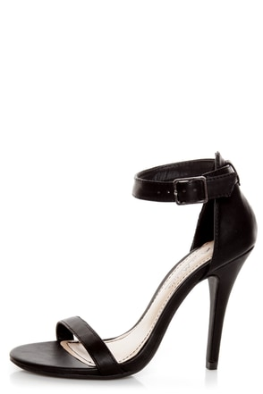 Black Open Toe Ankle Strap Heels
