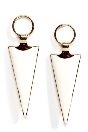 Arrowheads Up! Ivory and Gold Earrings