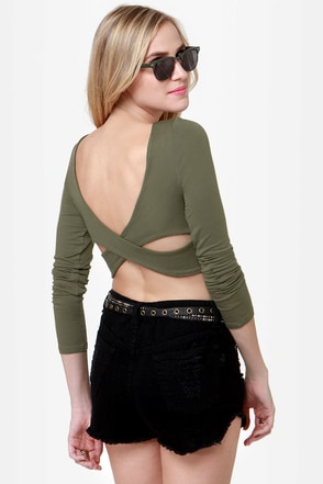 Cool Olive Green Top Crop Top Backless Top Long