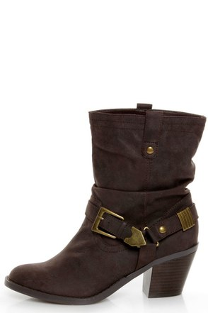 Soda Chi Brown Harness Slouchy Cowgirl Boots 34 00