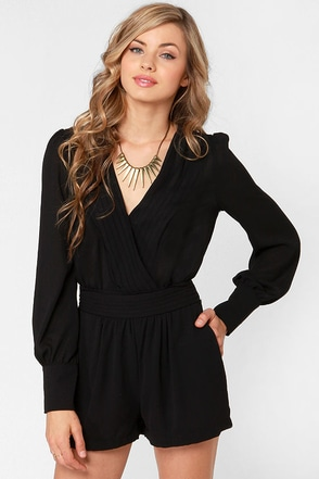 Pretty Black Romper Sexy Romper Long Sleeve Romper