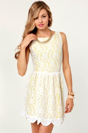 ca3febb01c DAISY D AND INFUSED YELLOW AND WHITE LACE DRESS on The Hunt