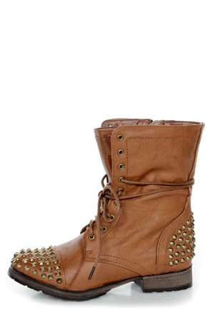 Georgia 28 Tan Studded Lace-Up Combat Boots