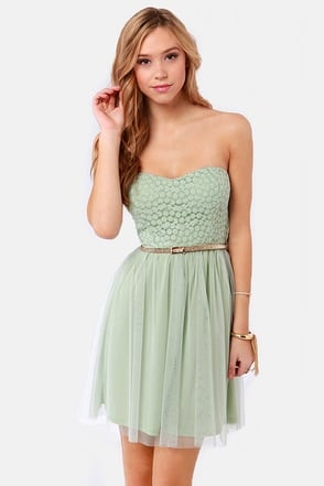 Pretty Mint Green Dress Strapless Dress Lace Dress