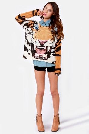 Mink Pink Roar Sweater Oversized Sweater Tiger Print