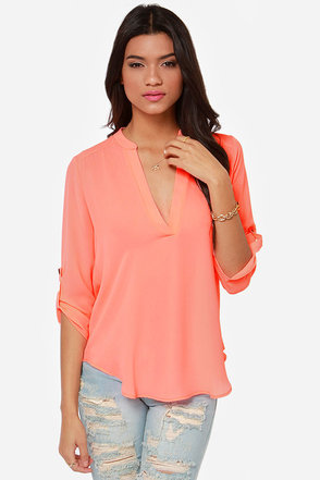 V-sionary Neon Coral Top