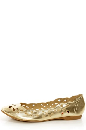 Rocket Dog Carey Gold Metallic Scalloped Cutout Flats 45 00