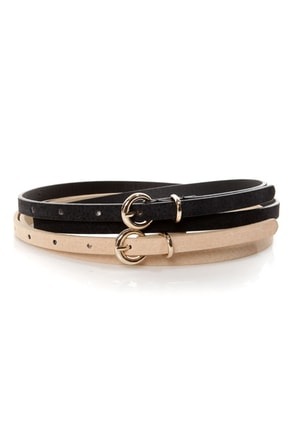 Fit Kit Beige and Black Leather Belt Set