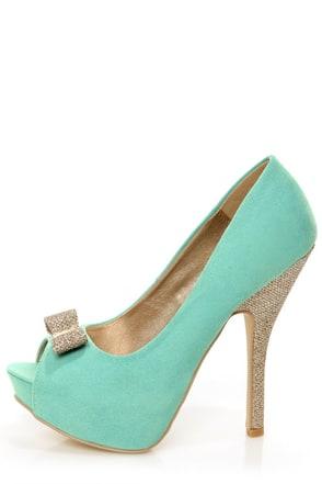 Chic 7 Light Blue And Glitter Fabric Peep Toe Platform